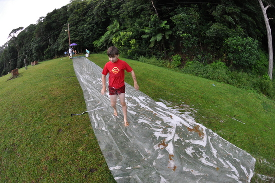 And then it started raining, so the leaders got out the super-slide and a great time was had by all