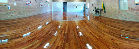 Photo of the new polished timber floor (July 2014)